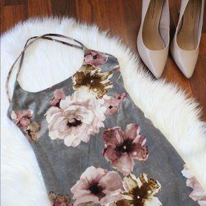 Blue Blush gray velvet floral mini dress